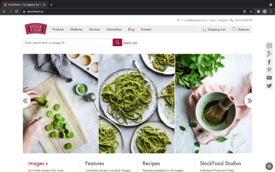 Stockfood webbsida